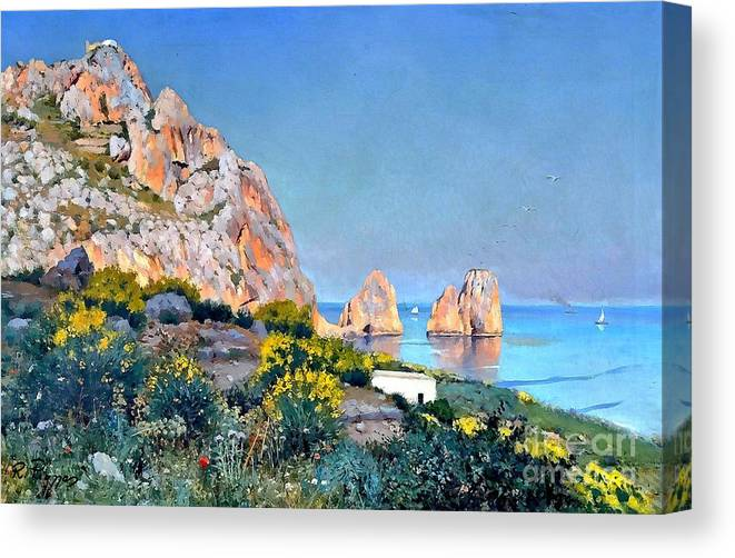 Capri Canvas Print featuring the painting Island Of Capri - Gulf Of Naples by Rosario Piazza