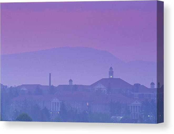 Dusk Canvas Print featuring the photograph James Madison University At Dusk by Kenneth Garrett