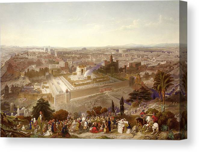 City; Palm Sunday; Entrance; Disciples; Temple; View; Landscape; Palestine Canvas Print featuring the painting Jerusalem In Her Grandeur by Henry Courtney Selous
