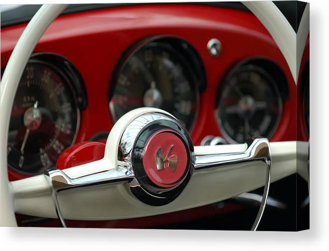 Car Canvas Print featuring the photograph Kaiser Steering Wheel by Jill Reger