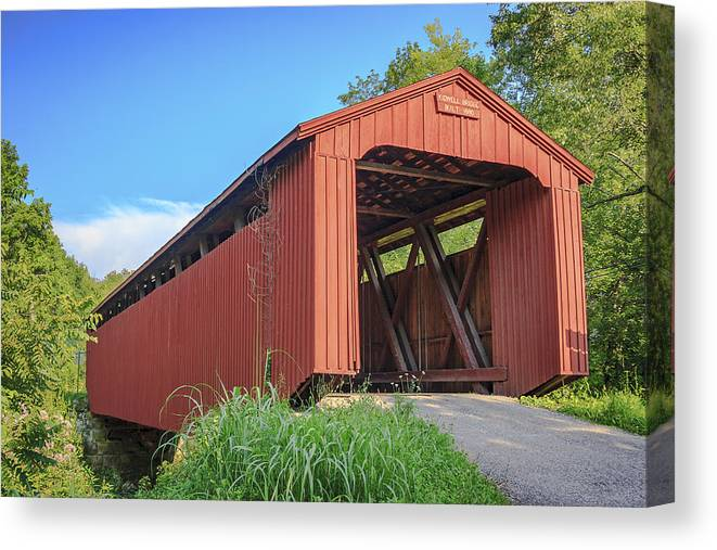 America Canvas Print featuring the photograph Kidwell Covered Bridge by Jack R Perry