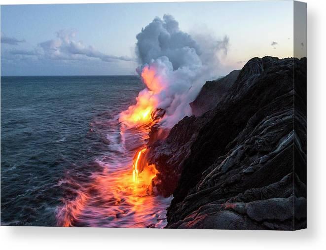 Kilauea Volcano Kalapana Lava Flow Sea Entry The Big Island Hawaii Hi Canvas Print featuring the photograph Kilauea Volcano Lava Flow Sea Entry 3- The Big Island Hawaii by Brian Harig