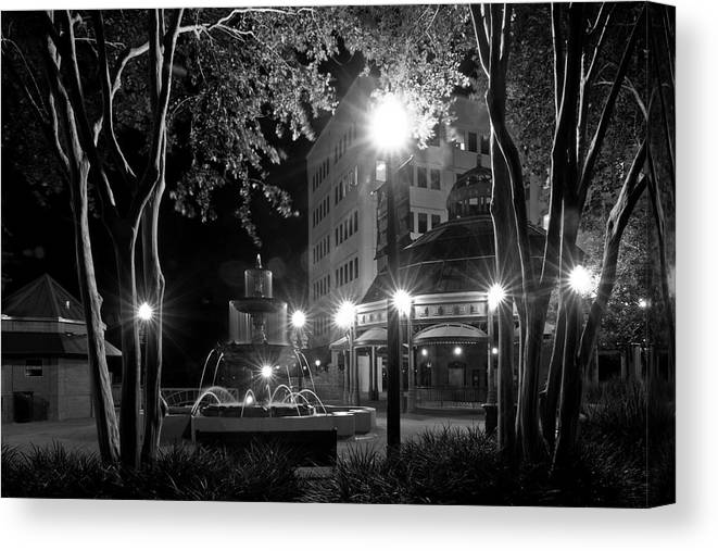 Black And White Photography Canvas Print featuring the photograph Kleman Plaza At Night by Wayne Denmark