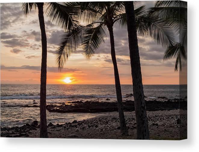 Kona Big Island Hawaii Beach Ocean Sunset Canvas Print featuring the photograph Kona Sunset by Brian Harig