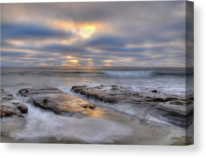La Jolla Light Beach Sunset Clouds Ocean Waves Landscape Photograph Canvas Cards Rocks Canvas Print featuring the photograph La Jolla Light by Kelly Wade