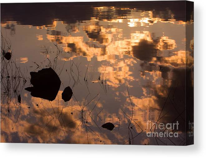 Sunrise Canvas Print featuring the photograph Lake Sunset Reflections by James BO Insogna
