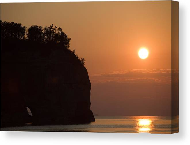 Lake Canvas Print featuring the photograph Lake Superior Sunset by Sebastian Musial