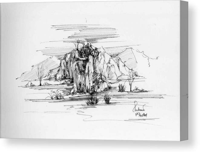 Landscape Canvas Print featuring the drawing Landscape In Pen by Padamvir Singh