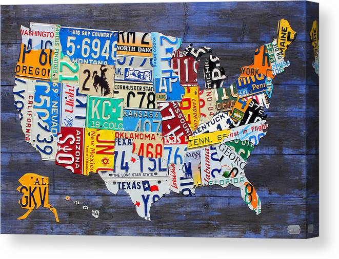 License Plate Map Of The Usa On Blue Wood Boards Canvas Print ...