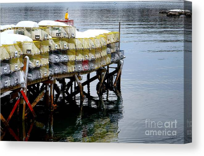 Maine Canvas Print featuring the photograph Lobster Traps In Winter by Olivier Le Queinec