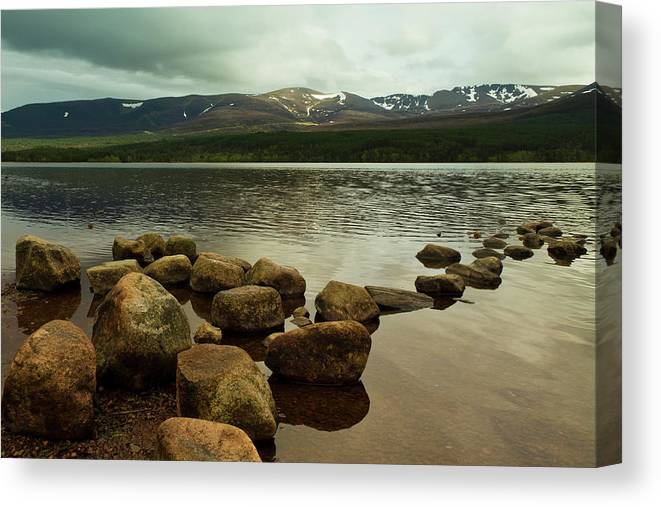 Cairngorms Canvas Print featuring the photograph Loch Morlich And The Cairn Gorms by Bill Buchan