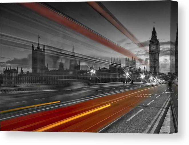 British Canvas Print featuring the photograph London Red Bus by Melanie Viola