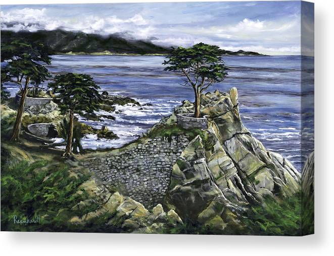Lone Cypress Canvas Print featuring the painting Lone Cypress by Lisa Reinhardt
