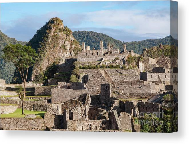 Inca Trail Canvas Print featuring the photograph Machu Picchu City Archecture by Bob Phillips