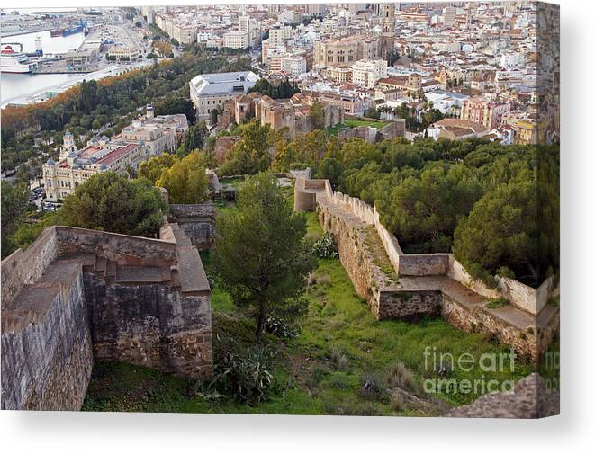 Spain Canvas Print featuring the photograph Malaga Fortifications by Rod Jones