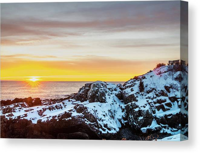 Maine Canvas Print featuring the photograph Marginal Way Day Break by Dennis Dube