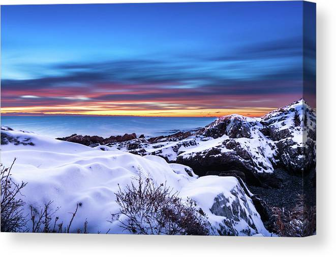 Maine Canvas Print featuring the photograph Marginal Way Presunrise Christmas Eve by Dennis Dube