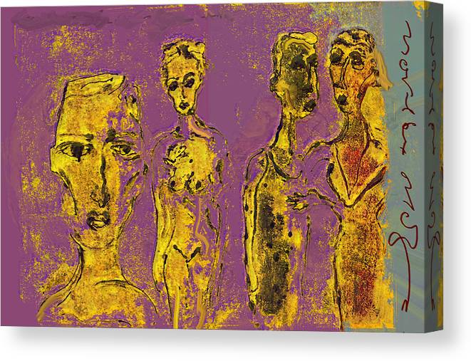 Wife Canvas Print featuring the painting Marrige II by Noredin Morgan