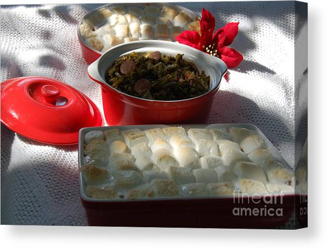 Food Canvas Print featuring the photograph Marshmellow Covered Candied Yams And Southern Greens by Mia Alexander