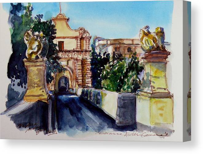 Mdina Canvas Print featuring the painting Mdina Gateway by Doranne Alden