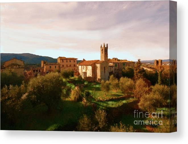Tuscany Florence Medieval Time Castle Castles Landscape Clouds Farm Farm House Trees Tree Field Fields Farming Meadows Harvest Animal Pasture Farmyard Landscapes Agriculture Hills Canvas Print featuring the painting Medieval Tuscany by Rosario Piazza