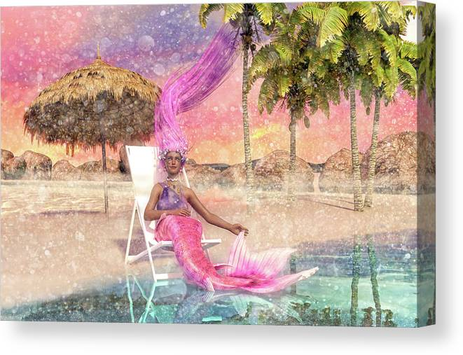 Mermaid Canvas Print featuring the digital art Mermaid By The Sea by Betsy Knapp