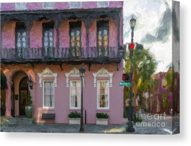 The Mills House Canvas Print featuring the photograph Mills House Pink Coral In Charleston Sc by Dale Powell