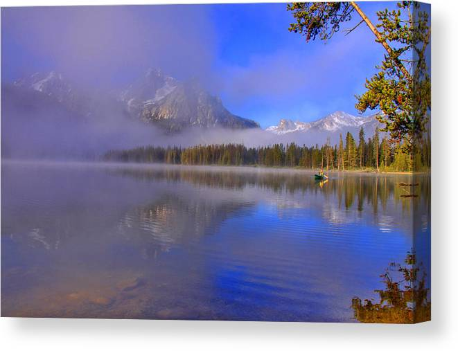 Lake Canvas Print featuring the photograph Misty Morning On A Canoe by Scott Mahon