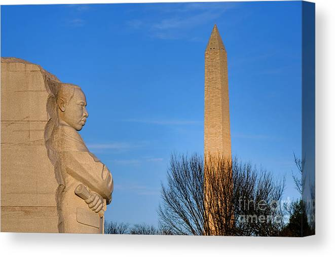 Washington Canvas Print featuring the photograph Mlk And Washington Monuments by Olivier Le Queinec