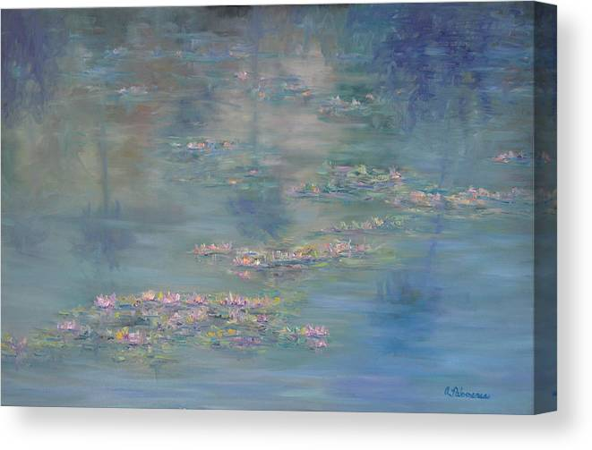 Monet Style Canvas Print Featuring The Painting Monet Style Water Lily  Peaceful Tropical Garden Painting Print