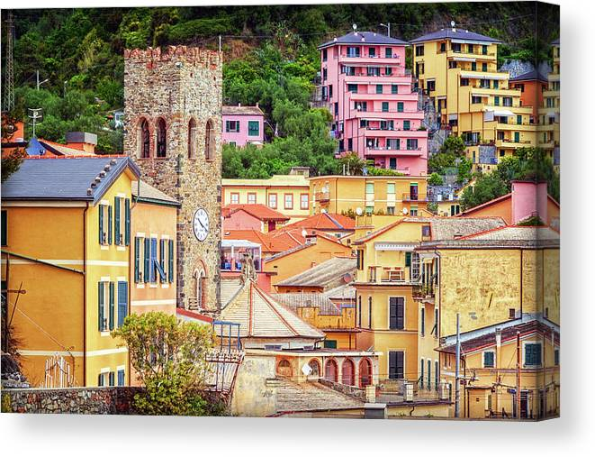 Joan Carroll Canvas Print featuring the photograph Monterosso Al Mare Cinque Terre Italy by Joan Carroll