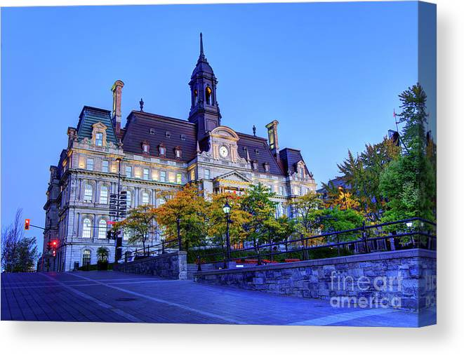 Old Montreal Canvas Print featuring the photograph Montreal City Hall by Denis Tangney Jr