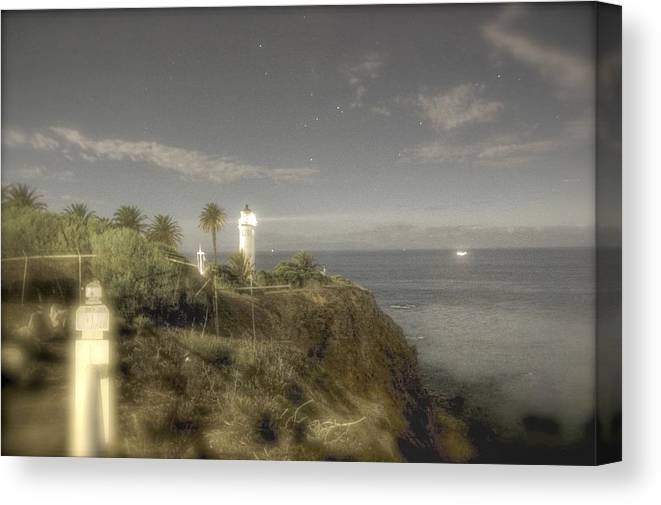 Moon Lit Light House Canvas Print featuring the photograph Moonlit Lighthouse by Winslow Crockwell