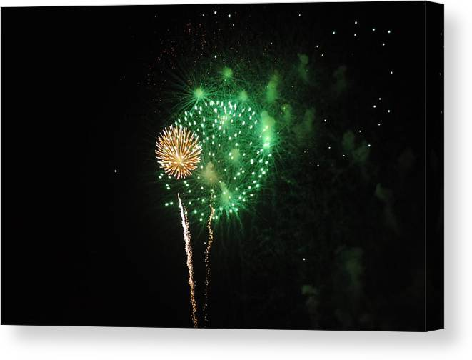 Green Canvas Print featuring the photograph More Fireworks by Brynn Ditsche