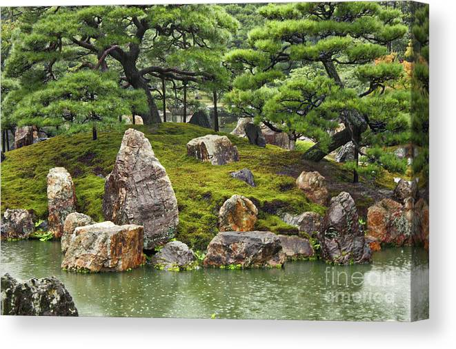 Japanese Garden Canvas Print featuring the photograph Mossy Japanese Garden by Carol Groenen