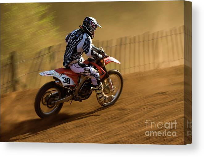 Bike Canvas Print featuring the photograph Motocross by Angel Ciesniarska