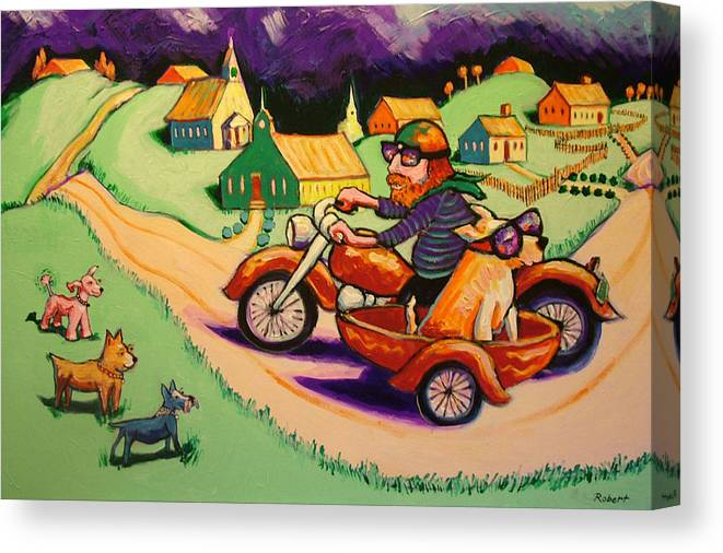 Canvas Print featuring the painting Motocycle Mike by Robert Tarr