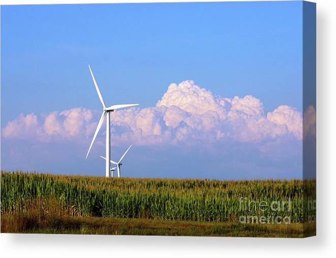 Art Canvas Print featuring the photograph Mountain Clouds And Windmills by Alan Look
