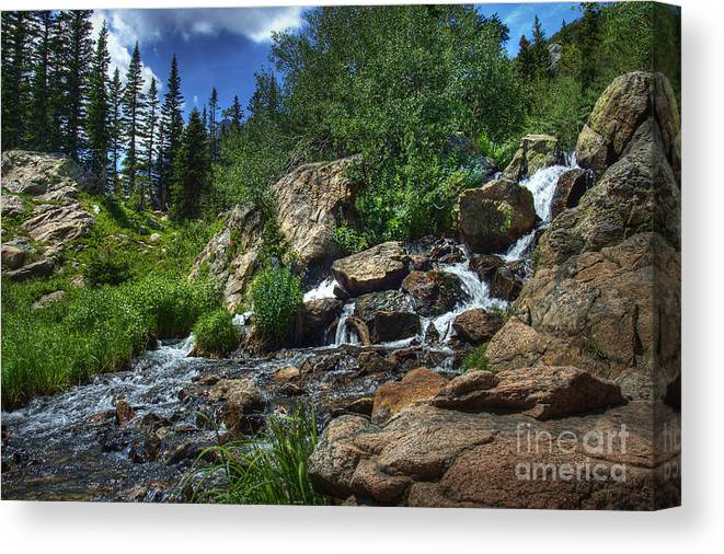 Landscape Canvas Print featuring the photograph Mountain Stream 3 by Pete Hellmann