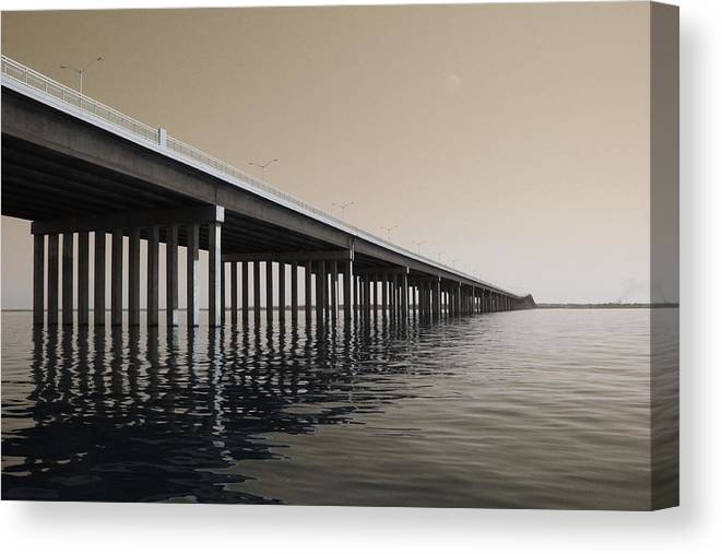 Water Canvas Print featuring the photograph Mprints - Hwy 90 Bridge by M Stuart