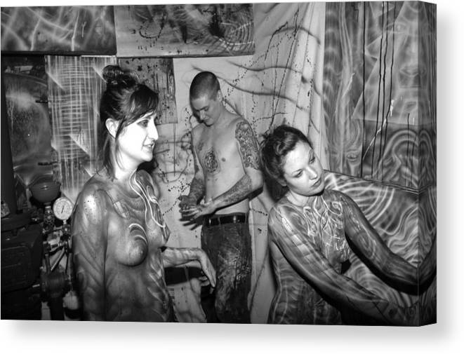 Body Paint Canvas Print featuring the painting My Hands by Leigh Odom