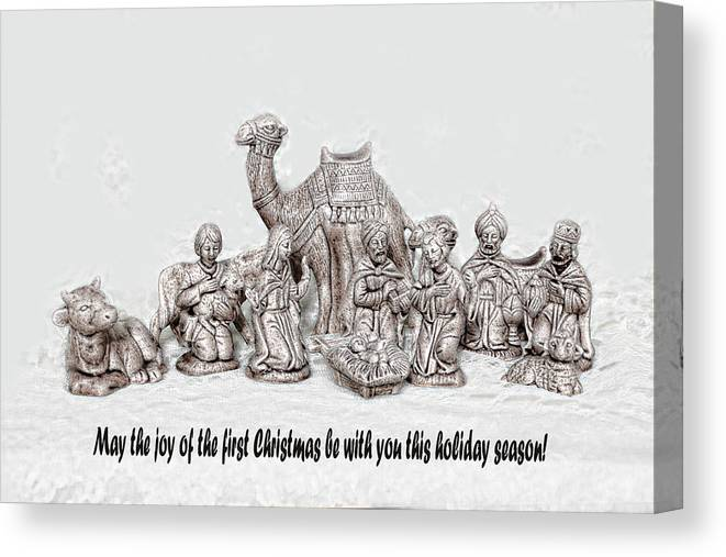 Holiday Canvas Print featuring the photograph Nativity Scenne Sketch by Linda Phelps