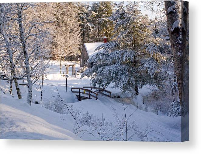 Snow Canvas Print featuring the photograph New England House And Forest In The Snow by David Thompson