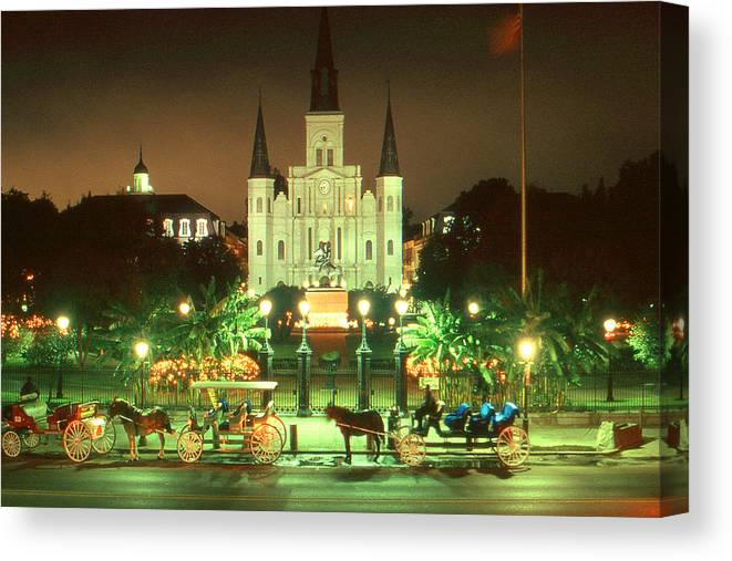 New+orleans Canvas Print featuring the photograph New Orleans Night Photo - Saint Louis Cathedral by Peter Potter