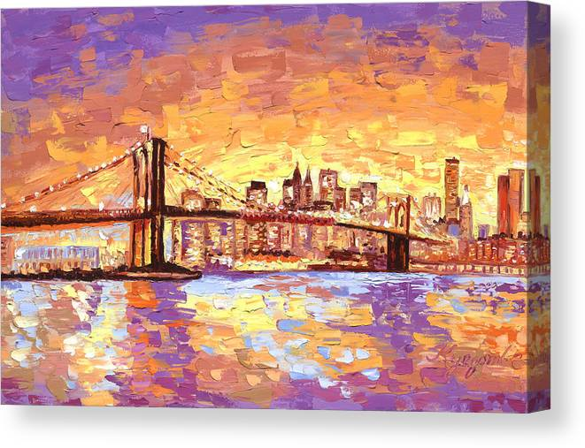New York City Brooklyn Bridge Skyline Canvas Print