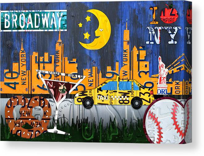 New York City Canvas Print featuring the mixed media New York City Nyc The Big Apple License Plate Art Collage No 1 by Design Turnpike