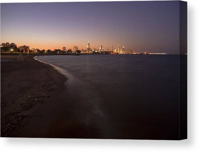 Night Beach Canvas Print featuring the photograph Night Beach And Chicago Skyline by Sven Brogren