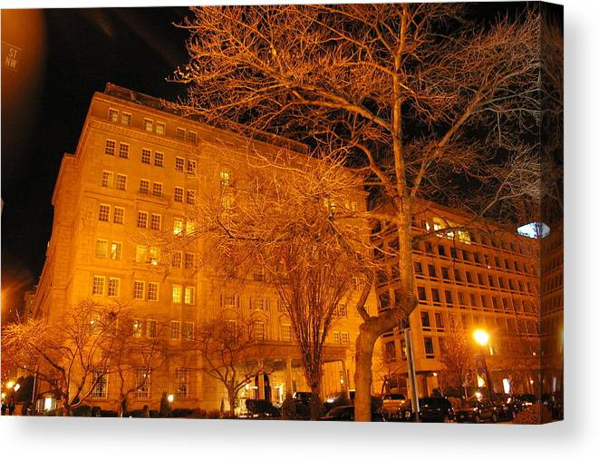 Buildings Canvas Print featuring the photograph Night Time Glow by Veron Miller