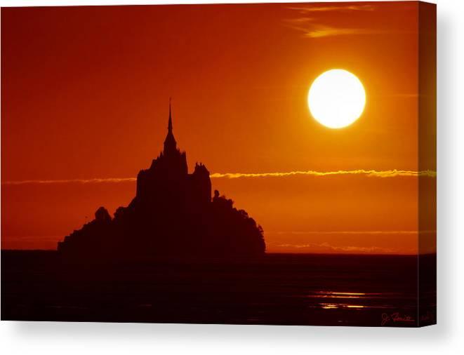 Sunset Canvas Print featuring the photograph Normandy Sunset by Joe Bonita