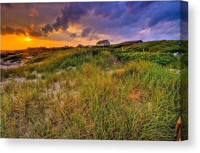 Sun Canvas Print featuring the photograph Oak Island Sunset by Ches Black